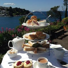 A stunning day for a cream tea at the Fowey Hotel Cornwall