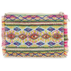 Muche Et Muchette Women's Zo Embellished Geometric Clutch ($23) ❤ liked on Polyvore featuring bags, handbags, clutches, hot pink, crossbody purses, sequin handbags, chain purse, beaded purse and embroidery handbags