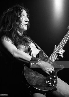 Mick Box of Uriah Heep performing on stage at Rainbow Theatre, London, 25 November 1973. He is playing a Gibson Melody Maker guitar.