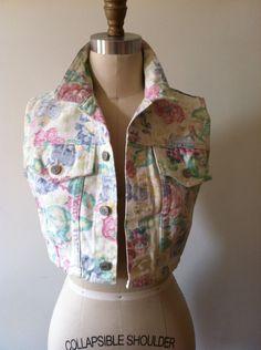 80s jean jacket / Floral BONGO cropped vest / denim summer festival / XS/S. $32.00, via Etsy.