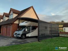 Motorhome Canopy installed in Ammanford, Carmarthenshire By Kappion Carports & Canopies. Receive a FREE quote today! Carport Canopy, Canopies, Motorhome, Bungalow, Quote, Contemporary, Free, Quotation, Rv