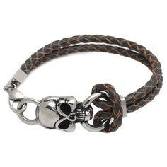steel skull coffee leather bracelet, 03595