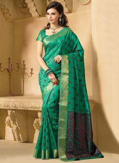 Honoured Green Kanchipuram Silk Saree
