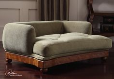 Antiqued Walnut Pet bed with Tufted Polyester Cushion