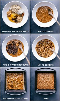 These gluten-free Soft-Baked Oatmeal Breakfast Bars are ultra chewy and loaded with flavor. They're packed with oats, nut butter, and dark chocolate and they're made with better-for-you, wholesome ingredients -- perfect for a grab-and-go breakfast on a busy morning. Recipe via chelseasmessyapron #cinnamon #chocolate #healthy #breakfast #delicious #recipe #soft #baked #oatmeal #breakfast #bars Oatmeal Bars Healthy, No Bake Oatmeal Bars, Oatmeal Breakfast Bars, Oat Bars, No Bake Bars, Baked Oatmeal, Breakfast Ideas, Breakfast Recipes, Vegan Breakfast
