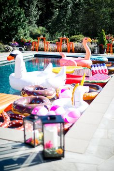 Summer favorite things party hosted by Jennycookies.com featured a pool full of fun floats! Banana Split bar with Dreyers Ice Cream