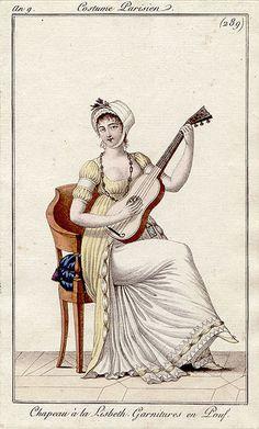 1800-1801 An 9 Costume Parisien Plate No 289 Chapeau à la Lisbeth. Garnitures en Pouf.