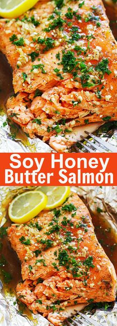 Soy Honey Butter Salmon – Easy roasted salmon recipe with soy sauce and honey butter. Moist, juicy and delicious salmon for the entire family | rasamalaysia.com