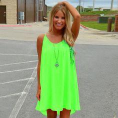 12916f2789f Fluorescence 80 s Style Girls Beach Dress Women s Florescence Dress Free  Shipping Waistline  Natural Decoration