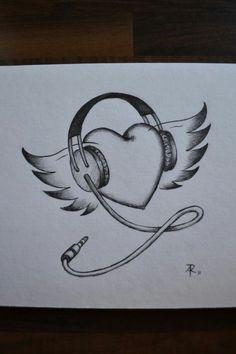 Music drawings ideas 49 New ideas Girl Drawing Sketches, Art Drawings Sketches Simple, Pencil Art Drawings, Easy Drawings, Drawing Ideas, Music Drawings, Girly Drawings, Cute Love Drawings, Geometric Tatto
