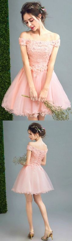 Pink A-line Off-the-shoulder Short Tulle Formal Dress Homecoming Dress Prom Dress With Appliques Lace #homecomingdresses