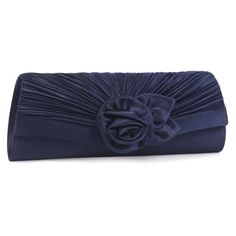 Damara Women's Satin Pleated Flower Front Evening Bag Clutch Handbag,Navy Blue *** You can get more details at