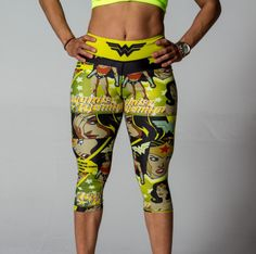 yellow wonder woman workout pants comes in shorts , capris and leggings. get yours now at fetre.com