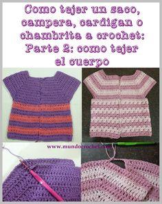 Part 2 - As knitting a bag, jacket, cardigan or crochet or crochet chambrita from Crochet Baby Sweater Pattern, Newborn Crochet Patterns, Baby Sweater Patterns, Crochet Jacket, Crochet Summer Dresses, Crochet Girls, Crochet For Kids, Knit Crochet, Cardigan Bebe