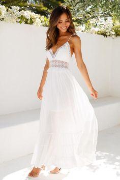 Simple White Dress, White Dress Summer, White Maxi Dresses, White Maxi Dress Casual, Short White Dresses, White Sundress Wedding, White Beach Wedding Dresses, White A Line Dress, White Dresses For Women