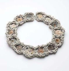 Iris Bodemer – Ingredients_Neckpiece 2008  Chalcedony, reconstructed, ivorith, silver, cotton