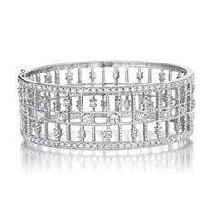 Penny Preville  cuffs | ... > Penny Preville Deco 18 Karat White Gold & Diamond Cuff Bracelet