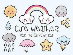 Premium Vector Clipart - Kawaii Weather Clipart - Kawaii Weather Clip art Set - High Quality Vectors - Instant Download - Kawaii Clipart