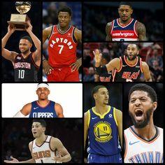 The NBA 3-Point Shootout contestants: returning champion Eric Gordon,  Kyle Lowry, Bradley Beal, Wayne Ellington, Tobias Harris, Devin Booker, Klay Thompson, and Paul George.