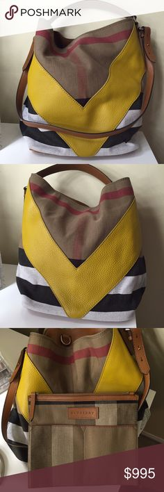 "Burberry Medium Leather Chevron Canvas Check H: 13"" W: approx 16"" D: 7.5""  Authentic everyday Burberry bag, can be worn on shoulder or carried by hand & has detachable purse pocket. Hand-painted edges and utilitarian hardware. Bag is like new & has only been used a few times. No stains, no wear, no scratches! This bag is sold out everywhere & was passed on to me, so I do not have original tags or receipt, but serial # is included. Comes with a dust bag, but not original dust bug. Eligible…"