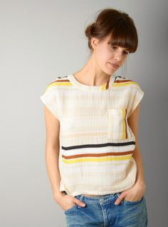 Ace & Jig Button Stripe Woven Tee in Beige (cream) | Lyst