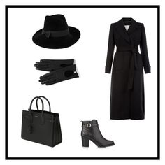 """""""Black outfit"""" by bahiraf ❤ liked on Polyvore featuring Monsoon, Mademoiselle Slassi, Mulberry, Yves Saint Laurent and Kurt Geiger"""