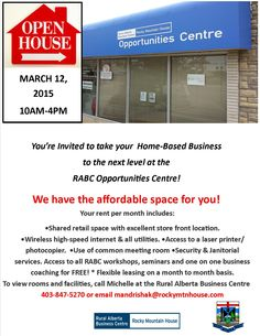 It's Open House time at the RABC Opportunities Centre March See how this small business incubator can help your business grow. Take You Home, Retail Space, Youre Invited, Open House, Opportunity, Centre, March, Business, Store
