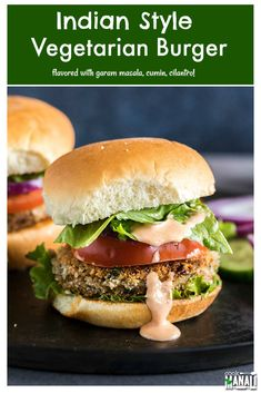 Indian style Vegetarian Burgers spiced with garam masala, cumin, ginger, cayenne & cilantro! These masala burgers are so flavorful and would be the perfect burgers for summer BBQ and grilling menu! Veggie Burger Recipe Indian, Vegi Burger, Veg Burgers Recipe, Burger Patty Recipe, Indian Vegetable Recipes, Burger Recipes, Indian Food Recipes, Vegetarian Recipes, Vegetarian Burgers