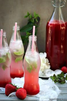 Strawberry Rhubarb Syrup Life is a Hammock Fancy Drinks, Summer Drinks, Lime Drinks, Gouts Et Couleurs, Superfood, Rhubarb Syrup, Plat Vegan, Rhubarb Recipes, Food Inspiration