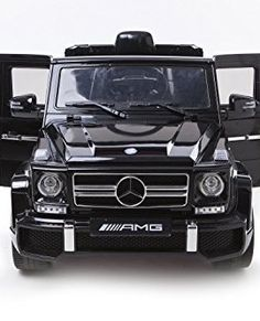 2015-New-Design-Kids-Ride-on-12V-Twin-Motors-Mercedes-G63-AMG-SUV-Rechargable-Electric-Car-Parental-remote-control-Open-able-doors-LED-Day-lights-2-Speeds-MP3-input-Music-volume-control-Black-0