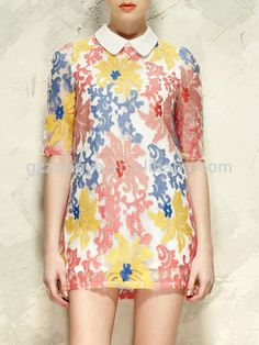 Flowers Embroidery Dress, now featured on Fab. Floral Embroidery Dress, Peter Pan Collar Dress, Make Your Own Clothes, Dress Me Up, Elegant Dresses, Lounge Wear, Floral Tops, Cool Outfits, Prom Dresses
