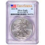 2013 W Silver American Eagle MS70 Burnished FS PCGS Flag Label