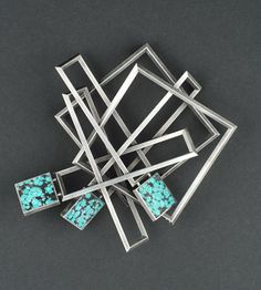 Brooch | Helfried Kodre. Silver and turquoise