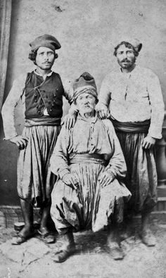Men in daily costumes, from the island of Spetses (lying east of the Peloponnesus). Greek Traditional Dress, Traditional Outfits, Oriental East, Greece History, Old Greek, Remember The Time, Ellis Island, Folk Costume, That Way