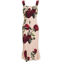 Dolce & Gabbana Rose Printed Flute Dress ($2,360) ❤ liked on Polyvore featuring dresses, cocktail dress, rosette dress, flare dress, flared dress, summer flare dress and pink flare dress