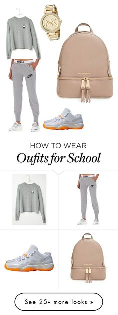 """""""regular school outfit."""" by therealtrapunzel on Polyvore featuring NIKE, MICHAEL Michael Kors, Michael Kors, women's clothing, women, female, woman, misses and juniors"""