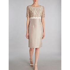 Buy Gina Bacconi Scallop Floral Lace Shimmer Dress, Oyster Online at johnlewis.com