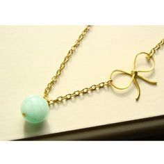Jade Bead Necklace on Gold Chain with Gold Bow