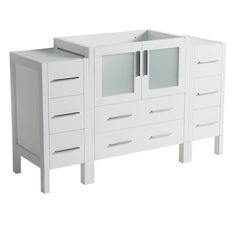 "Fresca Torino 54"" White Modern Bathroom Cabinets (Torino 54"" White Bathroom Cabinets), Size Single Vanities"