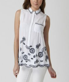 Another great find on #zulily! White Embroidered Sleeveless Button-Up by FATE #zulilyfinds