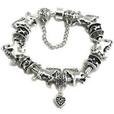 Pandora compatible Silver Carrousel & Heart Charm Bracelet JewelryMiu Charms. $29.99
