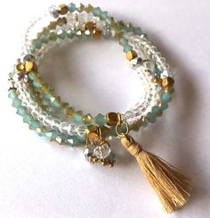 Shamballa Jewelry Clear and Blue Jade Faceted with Gold Tassel Bracelet -  #Shamballa