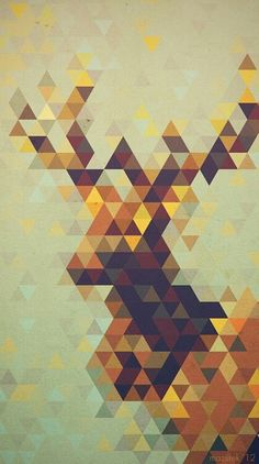 SHAPE: The different colours of the triangles which forms the shape of a deer