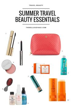 Travel beauty essentials for summer travel. Click through to see my favorite space-saving products and get your travel beauty kit ready to go!