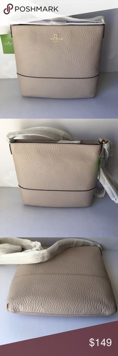 """Kate Spade Southport Avenue Cora In Cross Body Bag DETAILS   SIZE o10.1""""h x 10.1""""w x 1.2""""d ototal strap length: 47.2""""  MATERIAL ochunky pebbled cowhide ocustom woven bookstripe lining o14-karat light gold plated hardware ostyle # wkru1769   DETAILS oover the shoulder bag with zipper closure ointerior double slide pockets and zip pocket okate spade new york gold printed signature with tiny cutout spade oimported less kate spade Bags Crossbody Bags"""