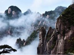 """Mount Sanqingshan (Jiangxi Province, China)  -   The coolest thing about this incredibly gorgeous national park is that many of its 48 granite peaks and 89 granite pillars look like human or animal silhouettes. Oh and the """"white rainbows,"""" cascading waterfalls, and lush forests. Yes, please. [Travel China Guide]"""