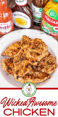 Wicked Awesome Chicken – Only 4 ingredients! Chicken marinated in Italian dressing, Dale's Steak Seasoning, BBQ sauce, and hot sauce. Grilled Chicken Recipes, Easy Chicken Recipes, 3 Ingredient Chicken Recipes, Easy Bbq Chicken, Pineapple Chicken Recipes, Italian Chicken Recipes, Pasta Recipes, Soup Recipes, Grilling Recipes