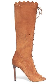 Shop on-sale Jimmy Choo Davy perforated suede peep-toe knee boots. Browse other discount designer Boots & more on The Most Fashionable Fashion Outlet, THE OUTNET.COM