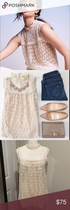 """Anthropologie Lili's closet lace top NWT. Bought online so come with the tag as the picture shown. Price is firm unless bundle. Size M. 26"""" long from shoulder. True to size. Anthropologie Tops"""