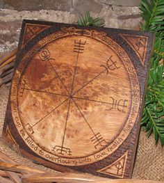 Pyrographed Vegvisir Viking Compass Plaque.  Runes, Good Luck, Blessing, Wedding, Burr Oak. OOAK Personalise Personalize